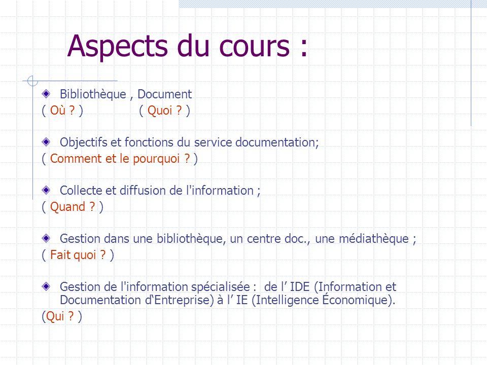 Aspects du cours : Bibliothèque, Document ( Où ? )( Quoi ? ) Objectifs et fonctions du service documentation; ( Comment et le pourquoi ? ) Collecte et
