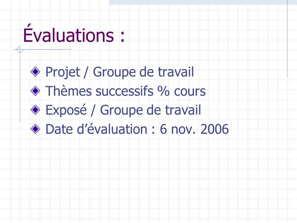 Évaluations : Projet / Groupe de travail Thèmes successifs % cours Exposé / Groupe de travail Date dévaluation : 6 nov. 2006