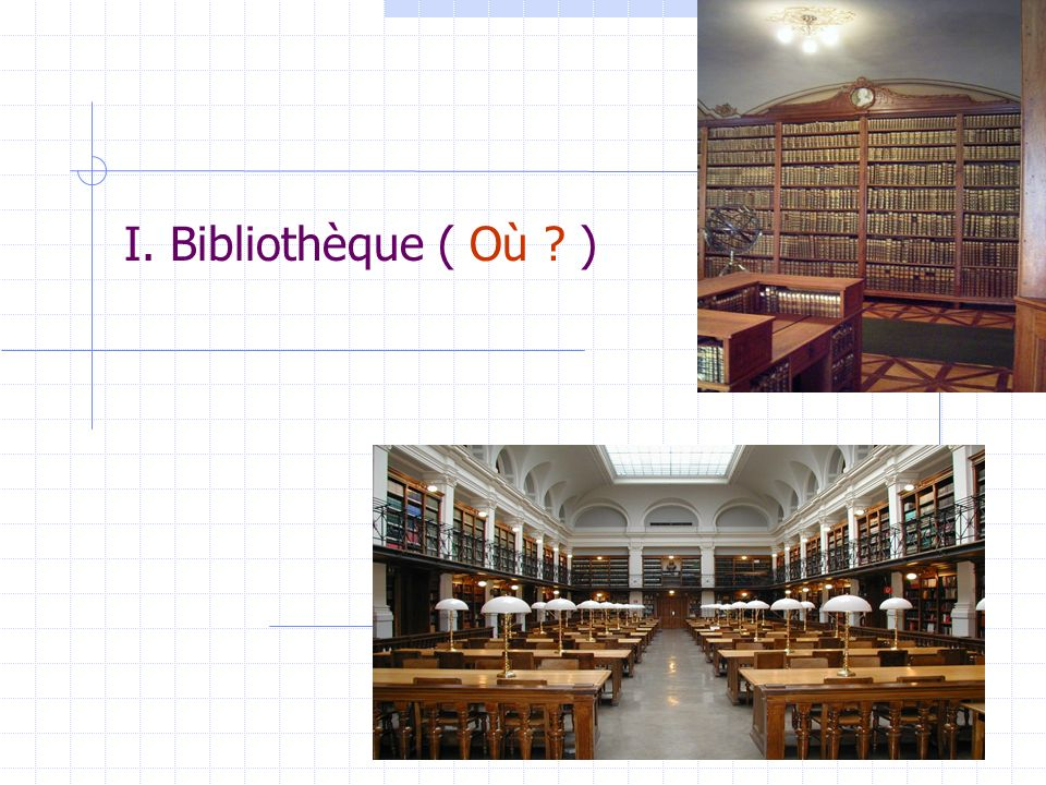 I. Bibliothèque ( Où ? )