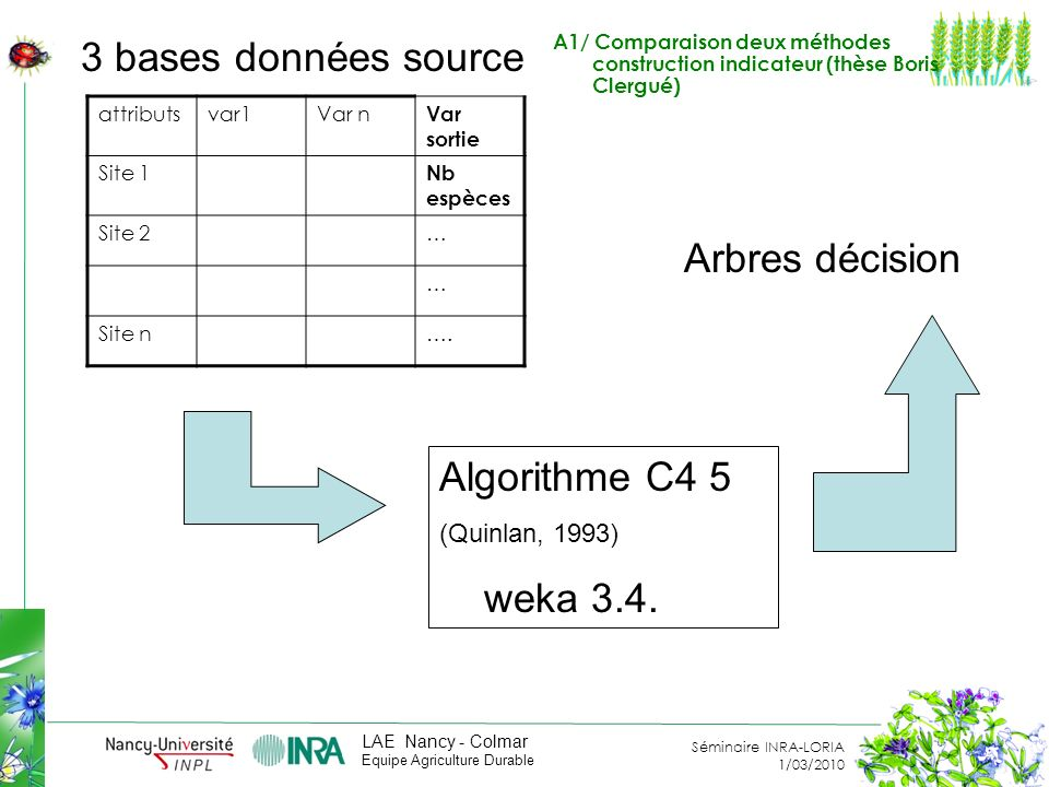 Séminaire INRA-LORIA 1/03/2010 LAE Nancy - Colmar Equipe Agriculture Durable attributsvar1Var n Var sortie Site 1 Nb espèces Site 2… … Site n….