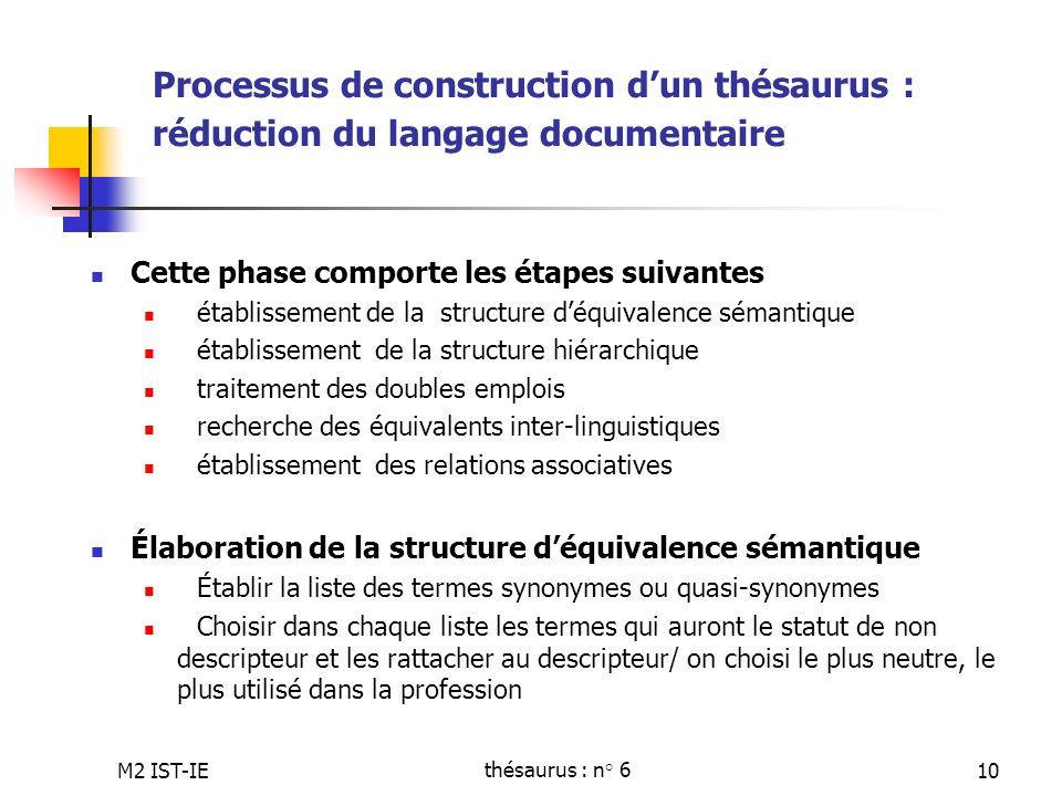 M2 IST-IEthésaurus : n° 610 Processus de construction dun thésaurus : réduction du langage documentaire Cette phase comporte les étapes suivantes étab
