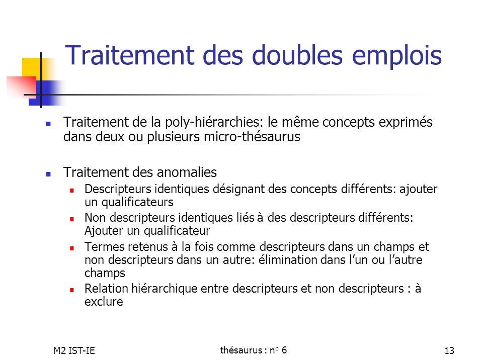 M2 IST-IEthésaurus : n° 613 Traitement des doubles emplois Traitement de la poly-hiérarchies: le même concepts exprimés dans deux ou plusieurs micro-t