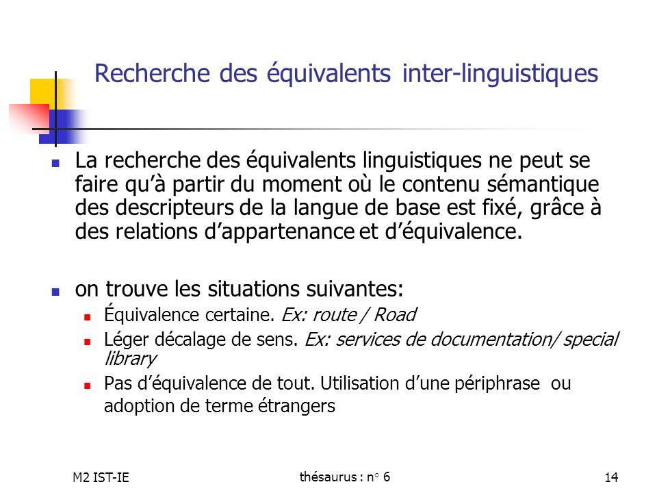 M2 IST-IEthésaurus : n° 614 Recherche des équivalents inter-linguistiques La recherche des équivalents linguistiques ne peut se faire quà partir du mo
