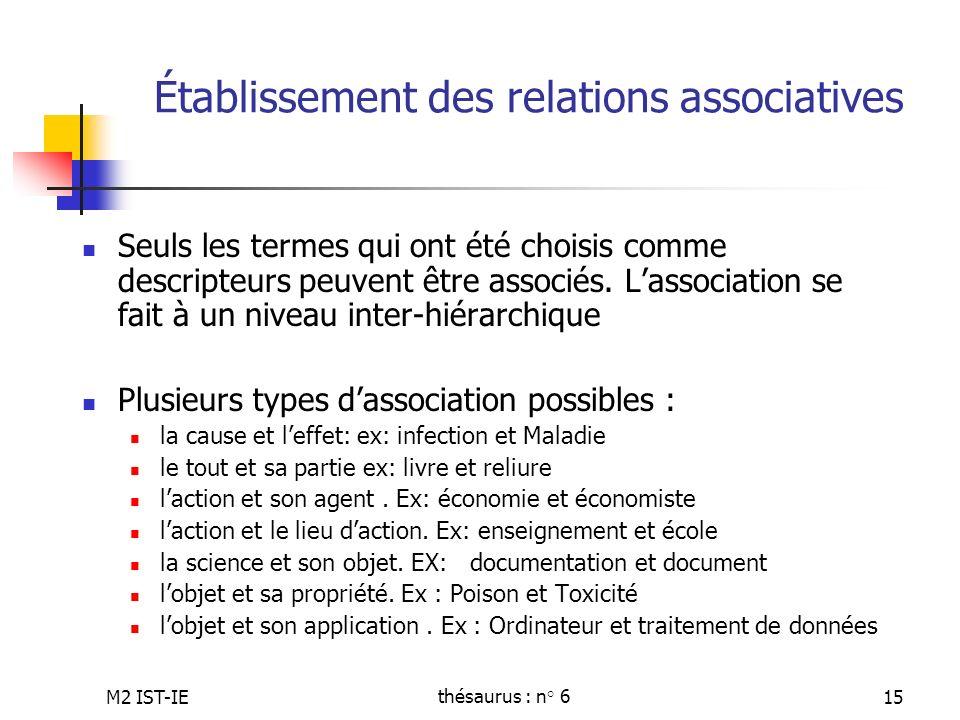 M2 IST-IEthésaurus : n° 615 Établissement des relations associatives Seuls les termes qui ont été choisis comme descripteurs peuvent être associés. La