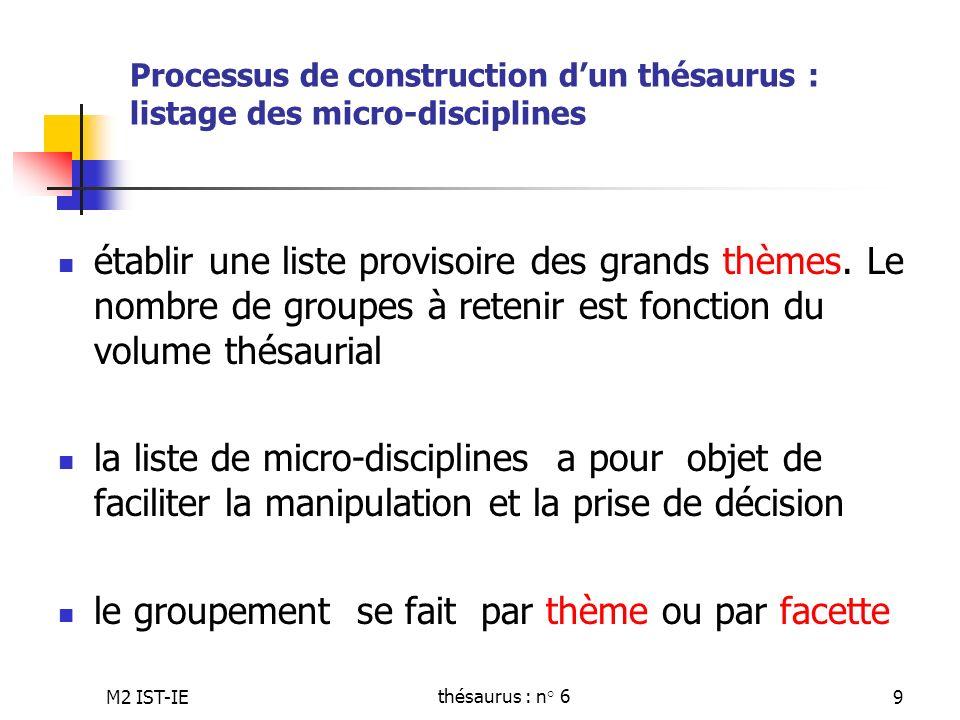 M2 IST-IEthésaurus : n° 69 Processus de construction dun thésaurus : listage des micro-disciplines établir une liste provisoire des grands thèmes. Le
