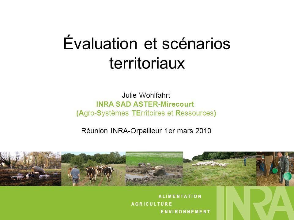 Travaux de thèse (2006-2008) : expérimentation numérique et fouille de données – LAE (Colmar) Perspectives de recherche au SAD-ASTER (Mirecourt) A L I M E N T A T I O N A G R I C U L T U R E E N V I R O N N E M E N T