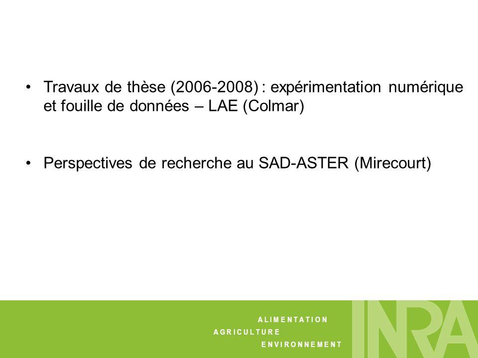 Travaux de thèse (2006-2008) : expérimentation numérique et fouille de données – LAE (Colmar) Perspectives de recherche au SAD-ASTER (Mirecourt) A L I