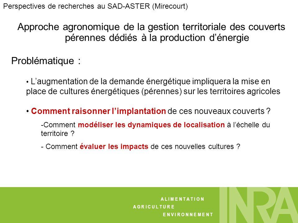 Approche agronomique de la gestion territoriale des couverts pérennes dédiés à la production dénergie Problématique : Laugmentation de la demande éner