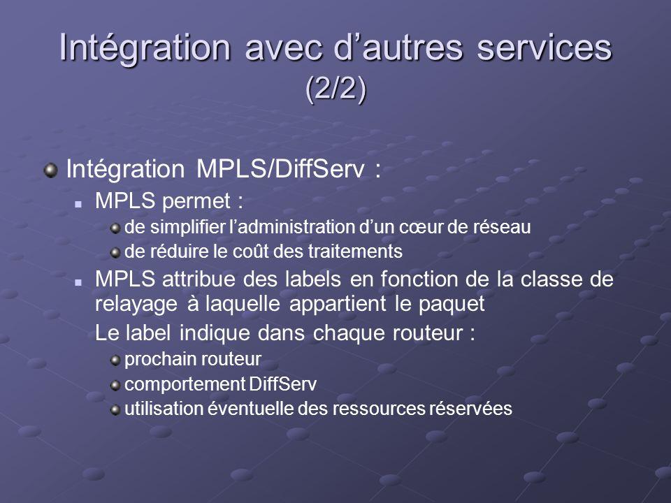 Intégration avec dautres services (2/2) Intégration MPLS/DiffServ : MPLS permet : de simplifier ladministration dun cœur de réseau de réduire le coût des traitements MPLS attribue des labels en fonction de la classe de relayage à laquelle appartient le paquet Le label indique dans chaque routeur : prochain routeur comportement DiffServ utilisation éventuelle des ressources réservées