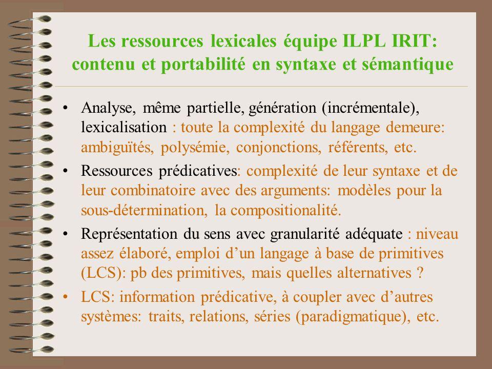 Les ressources lexicales équipe ILPL IRIT: contenu et portabilité en syntaxe et sémantique Analyse, même partielle, génération (incrémentale), lexicalisation : toute la complexité du langage demeure: ambiguïtés, polysémie, conjonctions, référents, etc.