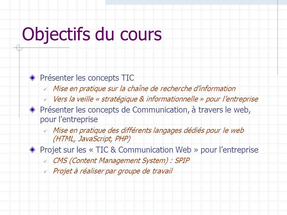 Objectifs du cours Présenter les concepts TIC Mise en pratique sur la chaîne de recherche dinformation Vers la veille « stratégique & informationnelle