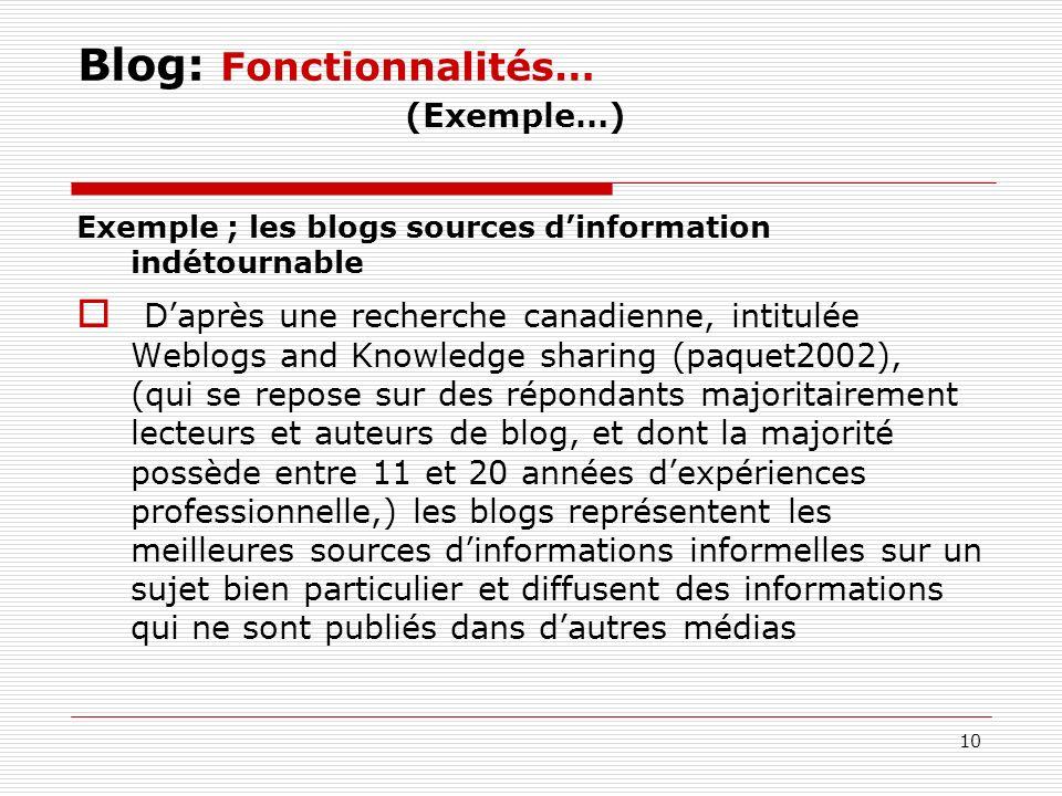 10 Blog: Fonctionnalités… (Exemple…) Exemple ; les blogs sources dinformation indétournable Daprès une recherche canadienne, intitulée Weblogs and Kno