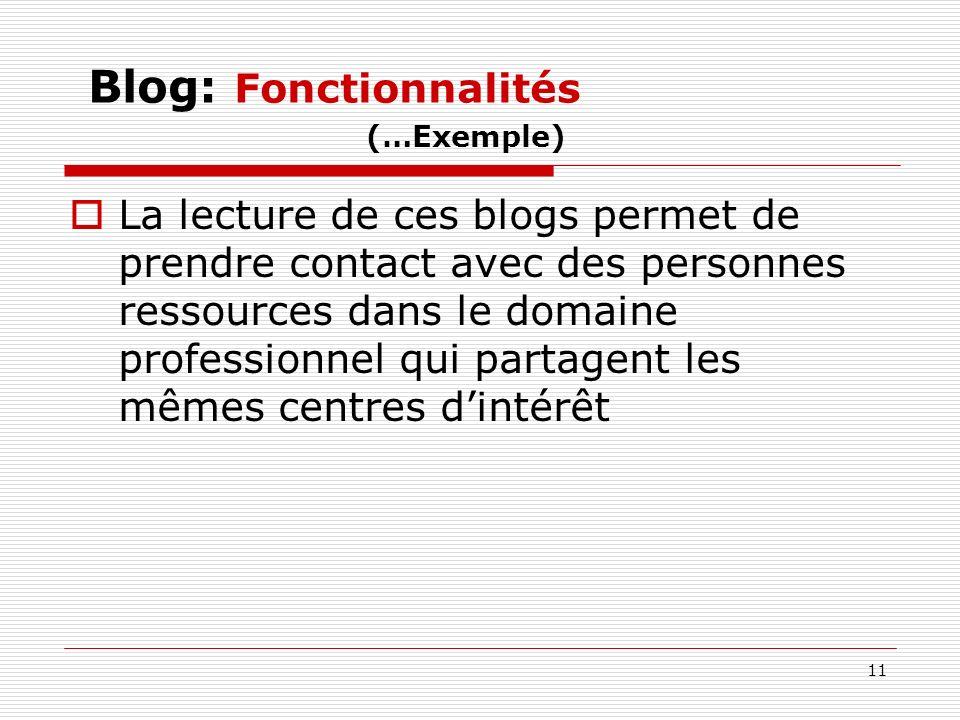 11 Blog: Fonctionnalités (…Exemple) La lecture de ces blogs permet de prendre contact avec des personnes ressources dans le domaine professionnel qui