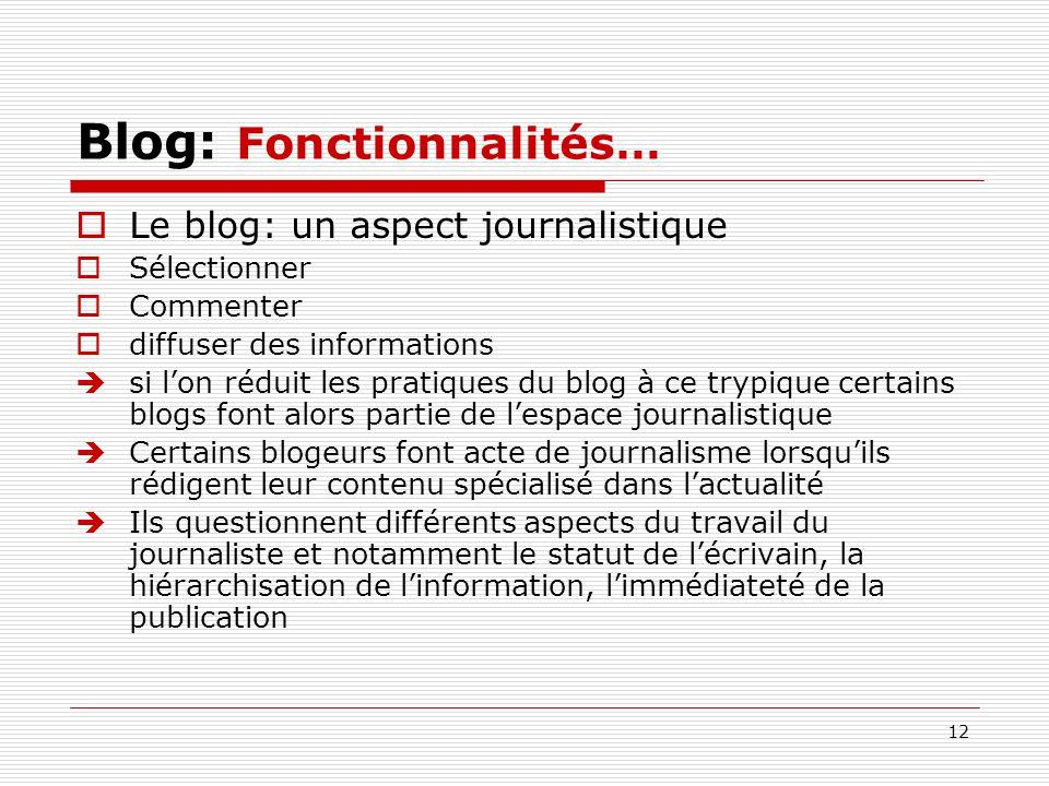 12 Blog: Fonctionnalités… Le blog: un aspect journalistique Sélectionner Commenter diffuser des informations si lon réduit les pratiques du blog à ce