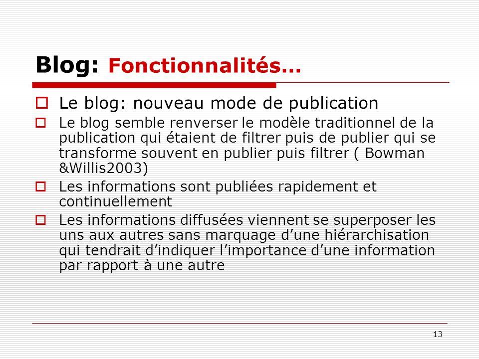 13 Blog: Fonctionnalités… Le blog: nouveau mode de publication Le blog semble renverser le modèle traditionnel de la publication qui étaient de filtre