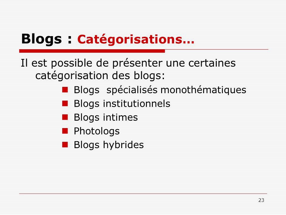 23 Blogs : Catégorisations… Il est possible de présenter une certaines catégorisation des blogs: Blogs spécialisés monothématiques Blogs institutionne