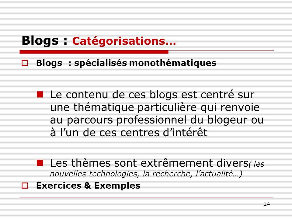 24 Blogs : Catégorisations… Blogs : spécialisés monothématiques Le contenu de ces blogs est centré sur une thématique particulière qui renvoie au parc