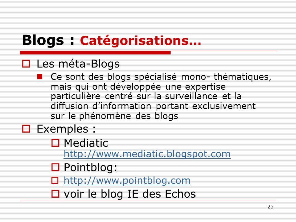 25 Blogs : Catégorisations… Les méta-Blogs Ce sont des blogs spécialisé mono- thématiques, mais qui ont développée une expertise particulière centré s