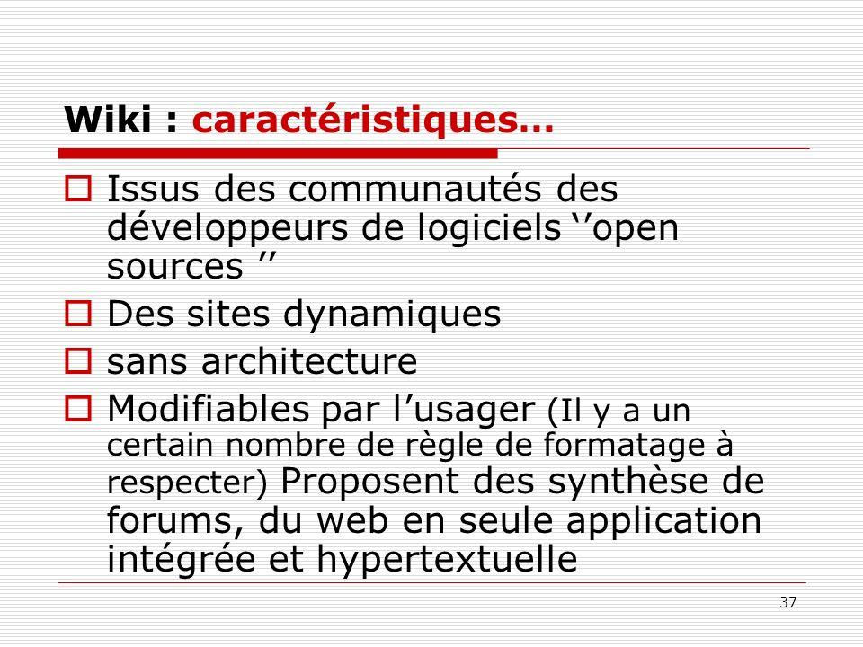 37 Wiki : caractéristiques… Issus des communautés des développeurs de logiciels open sources Des sites dynamiques sans architecture Modifiables par lu
