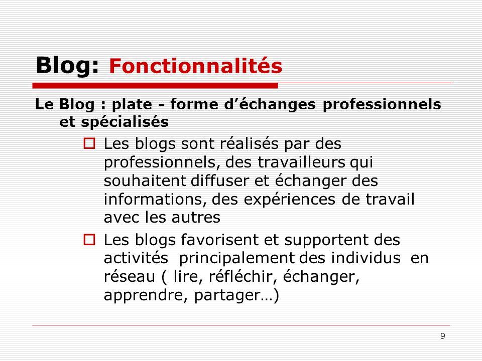 9 Blog: Fonctionnalités Le Blog : plate - forme déchanges professionnels et spécialisés Les blogs sont réalisés par des professionnels, des travailleu