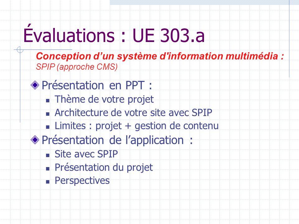 Évaluations : UE 303.a Présentation en PPT : Thème de votre projet Architecture de votre site avec SPIP Limites : projet + gestion de contenu Présentation de lapplication : Site avec SPIP Présentation du projet Perspectives Conception dun système d information multimédia : SPIP (approche CMS)