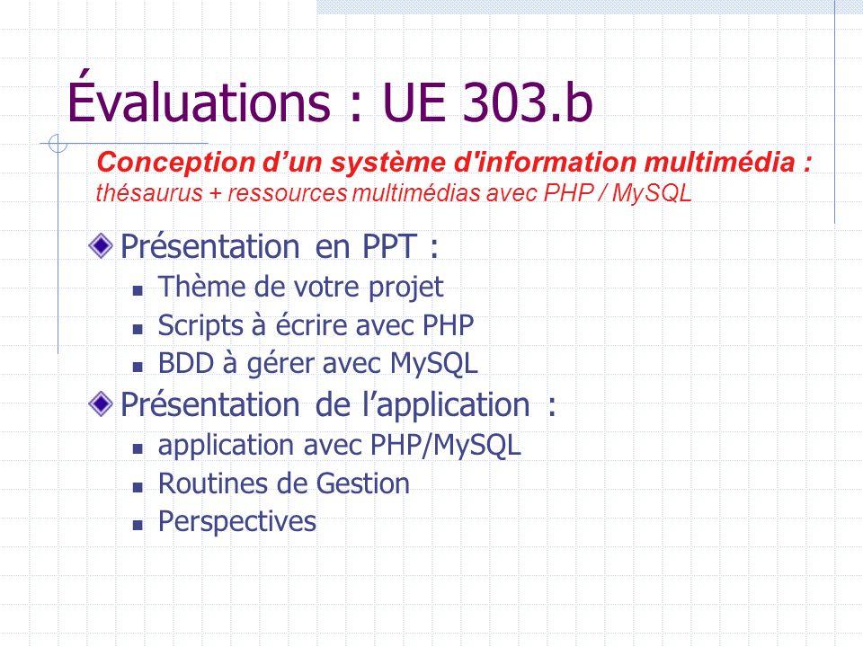 Évaluations : UE 303.b Présentation en PPT : Thème de votre projet Scripts à écrire avec PHP BDD à gérer avec MySQL Présentation de lapplication : application avec PHP/MySQL Routines de Gestion Perspectives Conception dun système d information multimédia : thésaurus + ressources multimédias avec PHP / MySQL