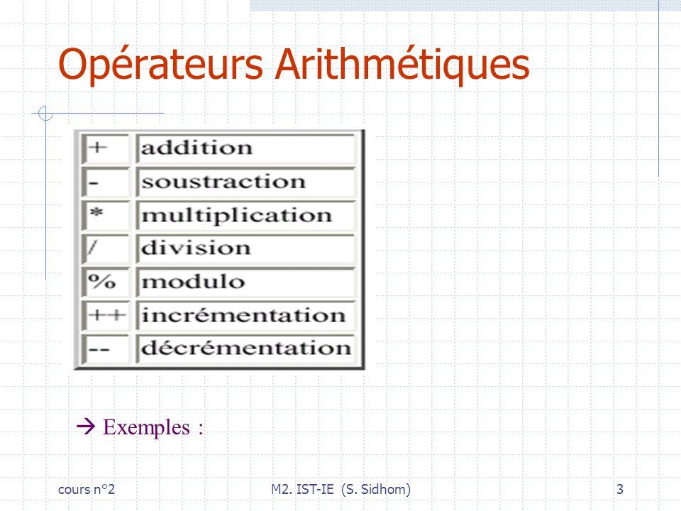 cours n°2M2. IST-IE (S. Sidhom)4 Opérateurs chaînes. : concaténation Exemples :