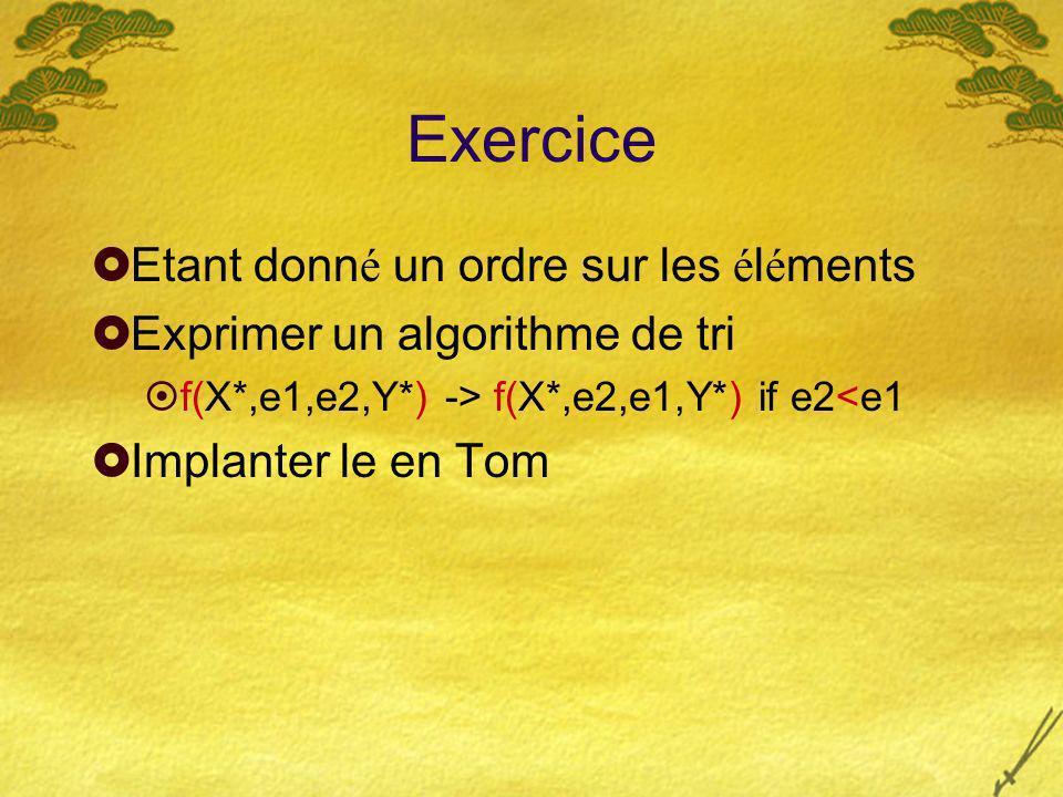 Exercice Etant donn é un ordre sur les é l é ments Exprimer un algorithme de tri f(X*,e1,e2,Y*) -> f(X*,e2,e1,Y*) if e2<e1 Implanter le en Tom