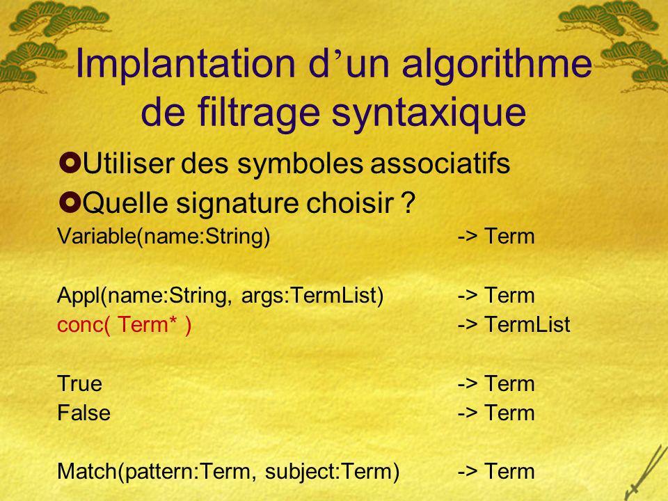 Implantation d un algorithme de filtrage syntaxique Utiliser des symboles associatifs Quelle signature choisir ? Variable(name:String) -> Term Appl(na