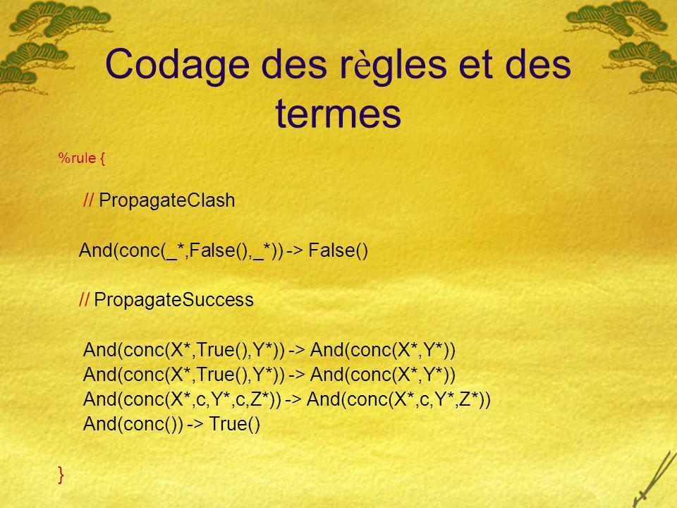 Codage des r è gles et des termes %rule { // PropagateClash And(conc(_*,False(),_*)) -> False() // PropagateSuccess And(conc(X*,True(),Y*)) -> And(con