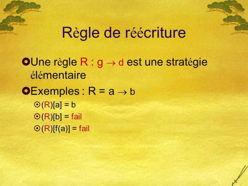 R è gle de r éé criture Une r è gle R : g d est une strat é gie é l é mentaire Exemples : R = a b (R)[a] = b (R)[b] = fail (R)[f(a)] = fail