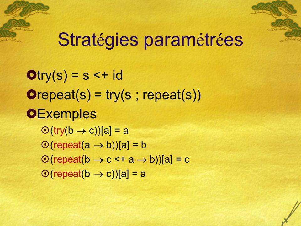 Strat é gies param é tr é es try(s) = s <+ id repeat(s) = try(s ; repeat(s)) Exemples (try(b c))[a] = a (repeat(a b))[a] = b (repeat(b c <+ a b))[a] = c (repeat(b c))[a] = a