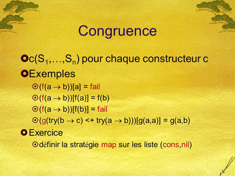 Congruence c(S 1, …,S n ) pour chaque constructeur c Exemples (f(a b))[a] = fail (f(a b))[f(a)] = f(b) (f(a b))[f(b)] = fail (g(try(b c) <+ try(a b)))[g(a,a)] = g(a,b) Exercice d é finir la strat é gie map sur les liste (cons,nil)