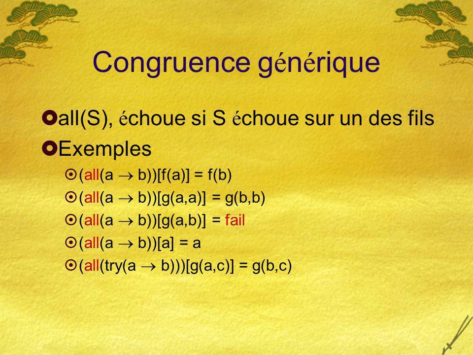Congruence g é n é rique all(S), é choue si S é choue sur un des fils Exemples (all(a b))[f(a)] = f(b) (all(a b))[g(a,a)] = g(b,b) (all(a b))[g(a,b)] = fail (all(a b))[a] = a (all(try(a b)))[g(a,c)] = g(b,c)
