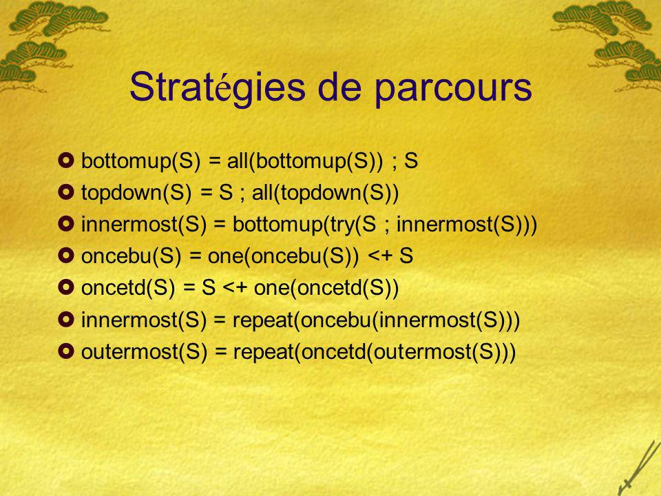 Strat é gies de parcours bottomup(S) = all(bottomup(S)) ; S topdown(S) = S ; all(topdown(S)) innermost(S) = bottomup(try(S ; innermost(S))) oncebu(S)