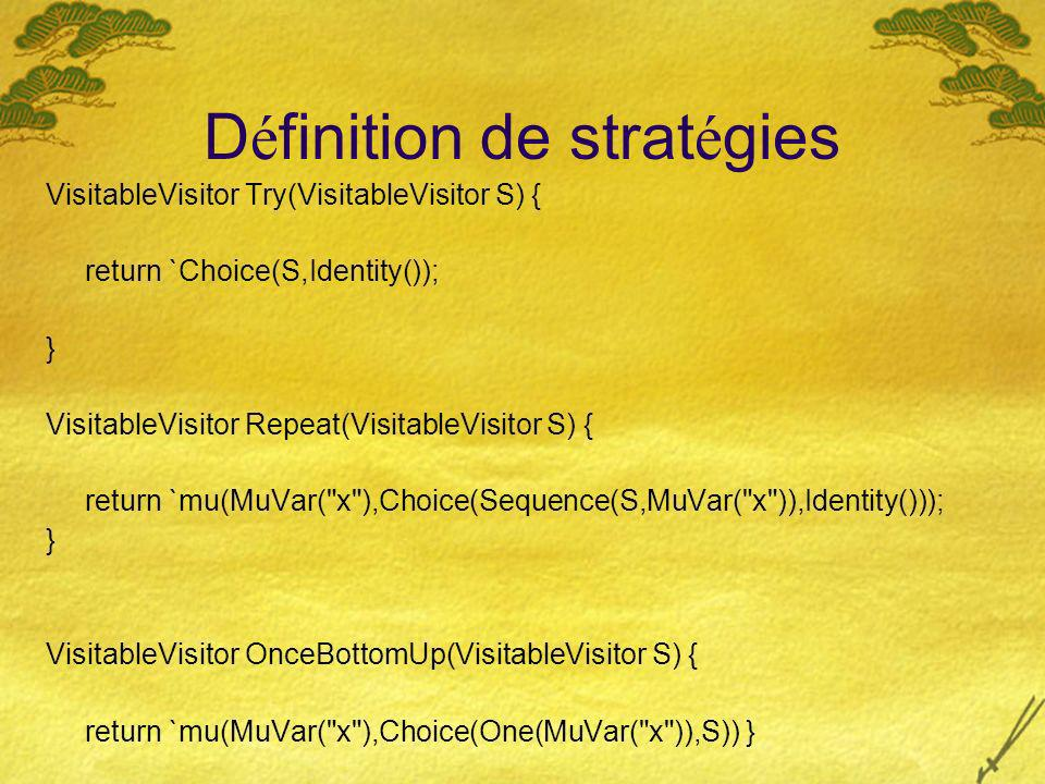 D é finition de strat é gies VisitableVisitor Try(VisitableVisitor S) { return `Choice(S,Identity()); } VisitableVisitor Repeat(VisitableVisitor S) { return `mu(MuVar( x ),Choice(Sequence(S,MuVar( x )),Identity())); } VisitableVisitor OnceBottomUp(VisitableVisitor S) { return `mu(MuVar( x ),Choice(One(MuVar( x )),S)) } } Exercice implanter innermost(a b)