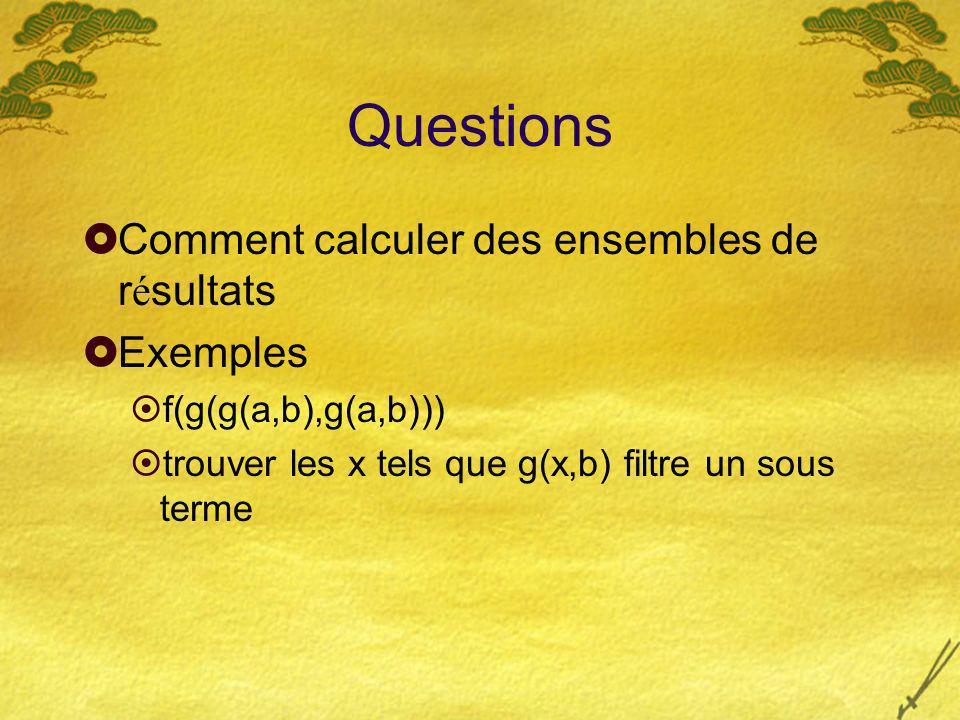 Questions Comment calculer des ensembles de r é sultats Exemples f(g(g(a,b),g(a,b))) trouver les x tels que g(x,b) filtre un sous terme