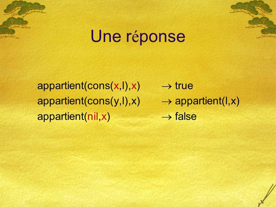 Une r é ponse appartient(cons(x,l),x) true appartient(cons(y,l),x) appartient(l,x) appartient(nil,x) false