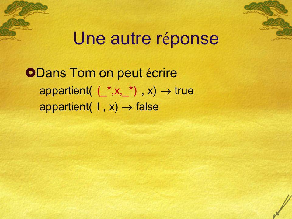 Une autre r é ponse Dans Tom on peut é crire appartient( (_*,x,_*), x) true appartient( l, x) false