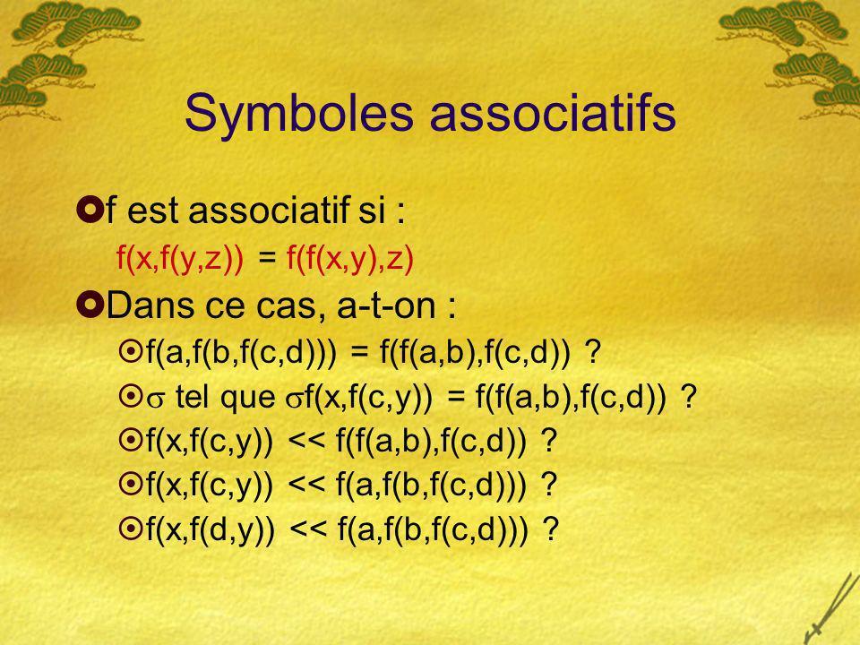 Symboles associatifs f est associatif si : f(x,f(y,z)) = f(f(x,y),z) Dans ce cas, a-t-on : f(a,f(b,f(c,d))) = f(f(a,b),f(c,d)) ? tel que f(x,f(c,y)) =