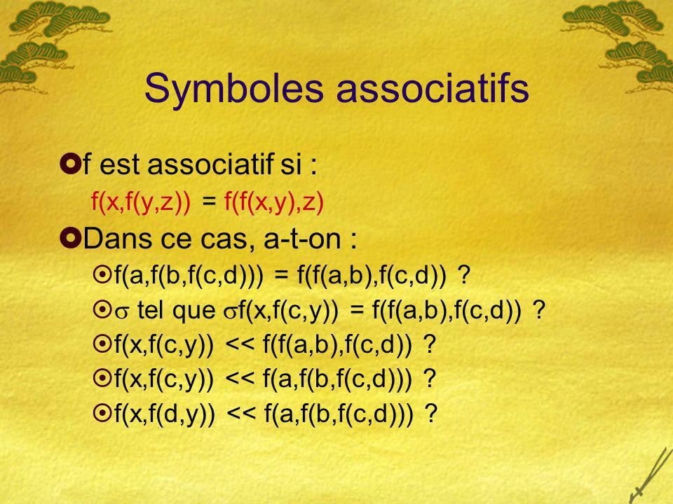 Symboles associatifs f est associatif si : f(x,f(y,z)) = f(f(x,y),z) Dans ce cas, a-t-on : f(a,f(b,f(c,d))) = f(f(a,b),f(c,d)) .