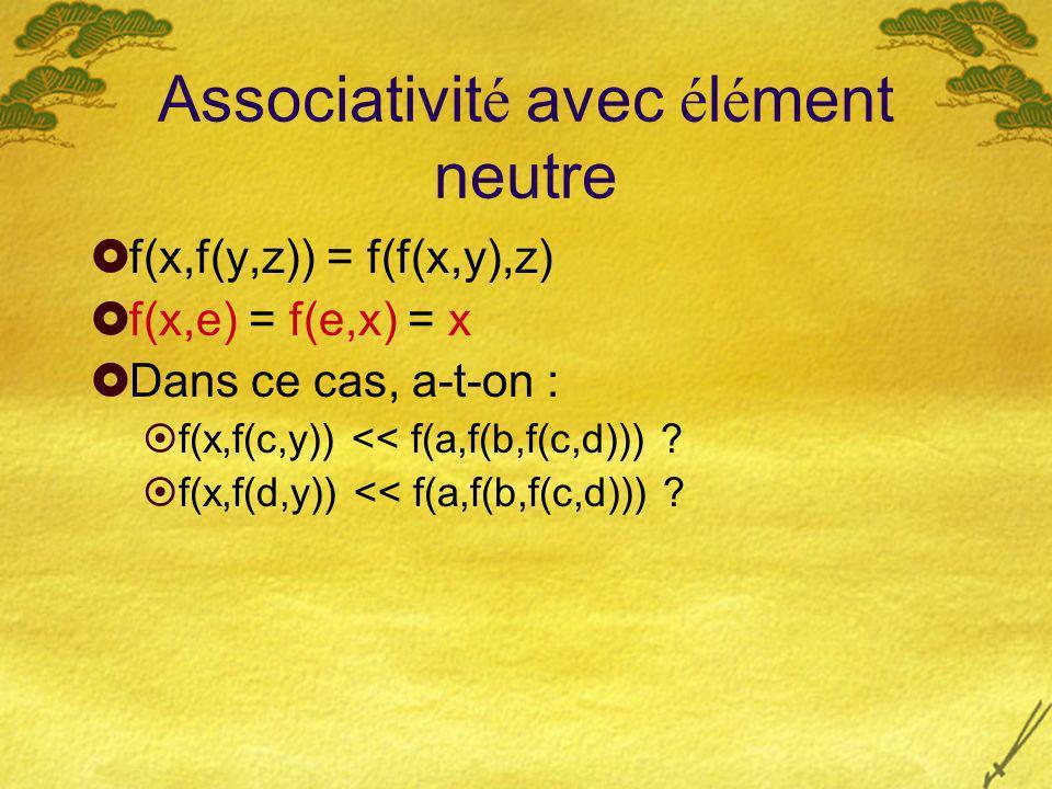 Associativit é avec é l é ment neutre f(x,f(y,z)) = f(f(x,y),z) f(x,e) = f(e,x) = x Dans ce cas, a-t-on : f(x,f(c,y)) << f(a,f(b,f(c,d))) .