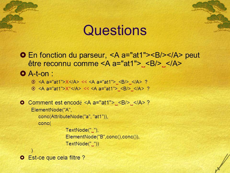 Questions En fonction du parseur, peut être reconnu comme A-t-on : X ? X* ? Comment est encod é ? ElementNode(