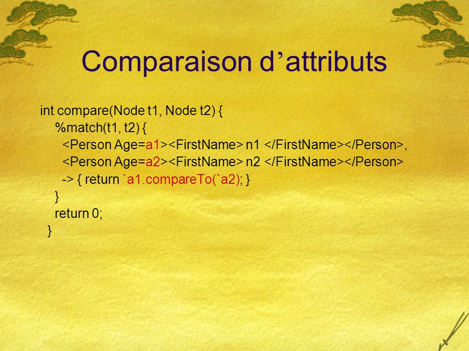 Comparaison d attributs int compare(Node t1, Node t2) { %match(t1, t2) { n1, n2 -> { return `a1.compareTo(`a2); } } return 0; }
