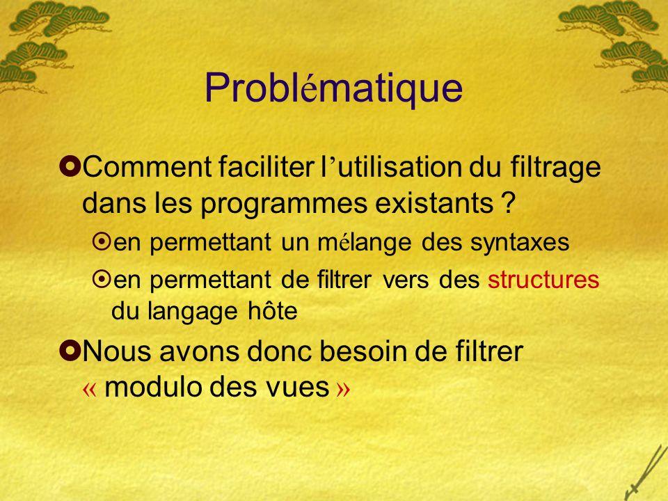 Probl é matique Comment faciliter l utilisation du filtrage dans les programmes existants .