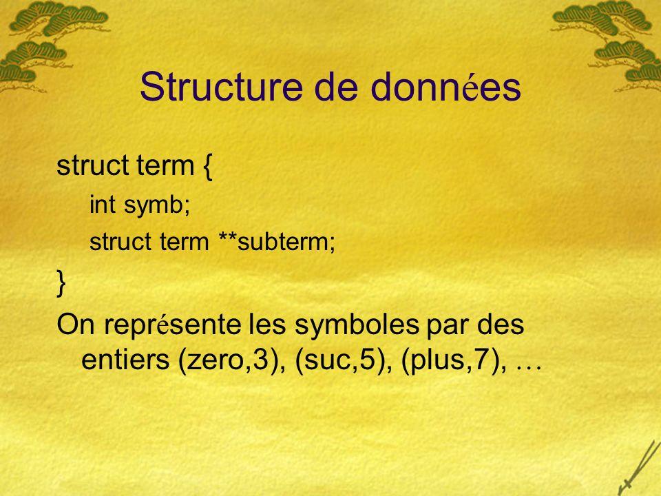 Structure de donn é es struct term { int symb; struct term **subterm; } On repr é sente les symboles par des entiers (zero,3), (suc,5), (plus,7), …