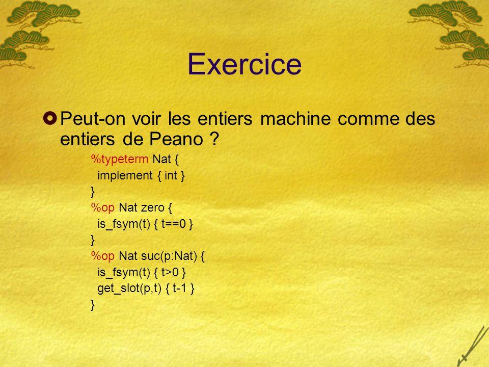 Exercice Peut-on voir les entiers machine comme des entiers de Peano ? %typeterm Nat { implement { int } } %op Nat zero { is_fsym(t) { t==0 } } %op Na