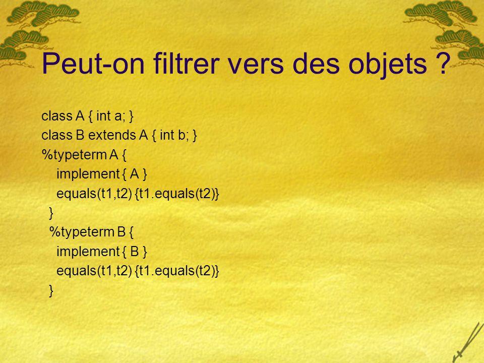 Peut-on filtrer vers des objets ? class A { int a; } class B extends A { int b; } %typeterm A { implement { A } equals(t1,t2) {t1.equals(t2)} } %typet