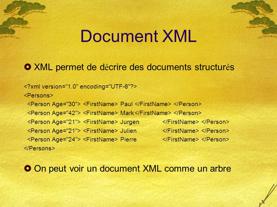 Document XML XML permet de d é crire des documents structur é s Paul Mark Jurgen Julien Pierre On peut voir un document XML comme un arbre