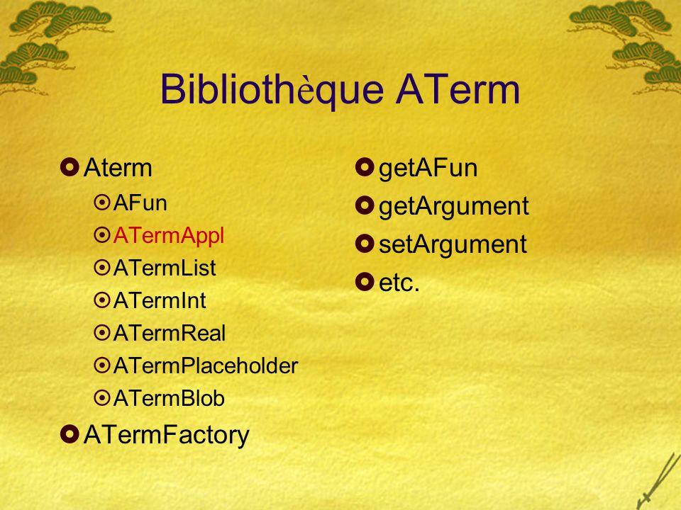 Biblioth è que ATerm Aterm AFun ATermAppl ATermList ATermInt ATermReal ATermPlaceholder ATermBlob ATermFactory getAFun getArgument setArgument etc.